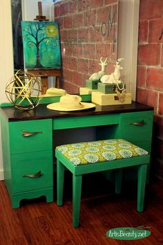 pantone color of the year green art deco vanity makeover diy painted furniture boho chic