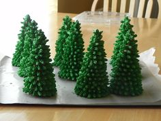 Evergreen trees made from waffle cones and royal icing.