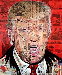 """""""America Wants Me""""  portrait of The Republican presidential candidate Donald Trump acrylic and newsprint on canvas 100 x 120 cm  #americawantsme #Trump #makeamericagreatagain #donaldtrump #USA #Hilary #hilaryclinton #vote #racism #sexist #immigration #orange #isthistheend #Pesident #art #portrait"""