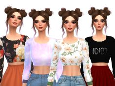 Tumblr Themed Crop Tops by Wicked_Kittie at TSR • Sims 4 Updates