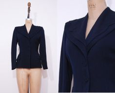 1940s navy blue blazer / Vintage 40s scalloped collar by Ainshent, $65.00