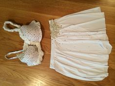 Custom White Bra Top and Skirt Made Dance Costume Size M/L
