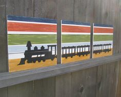 Train Wall Art: Boys Room Transportation Decor / Baby Boy Nursery Art / Toddler Boy Room Decor / Wall Decor (hand painted on wood) via Etsy