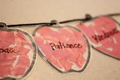 Fruit of the Spirit garland -- good idea for a Family Home Evening lesson & activity based on Galatians 5:22-23. It will also be a good visual reminder for the whole family to focus on developing these Christlike attributes.