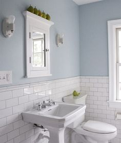 Bathroom , Subway Tile Bathroom Walls : Pale Blue Color Walls And Silver  Grout Arctic White Subway Tile Bathroom With White Pedestal Sink And  Bathroom ...