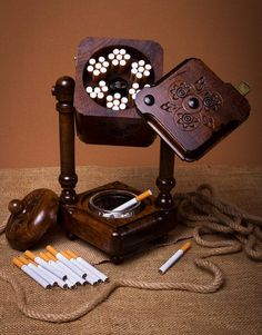 Wooden cigarette smoking set with ashtray and cigarette box. on Etsy, £35.95