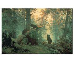 Cuadro moderno Mañana en un bosque de pinos