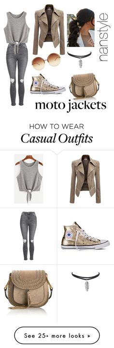 """""""casual goldsilver"""" by nanda3andanu on Polyvore featuring Topshop, Converse, Chloé and Linda Farrow"""