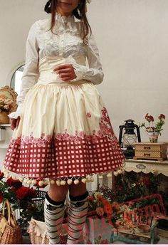 Red Hat Cotton Printed Lolita High Waisted Skirt