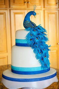 Peacock bridal shower cake I made :)