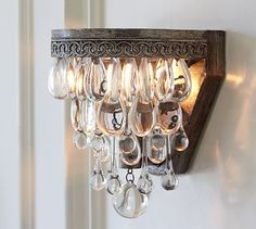 Shop clarissa glass drop sconce from Pottery Barn. Our furniture, home decor and accessories collections feature clarissa glass drop sconce in quality materials and classic styles. Crystal Sconce, Crystal Decor, Crystal Wall, Crystal Lights, Modern Farmhouse, Fresh Farmhouse, Rustic Modern, Retro Lampe, Rectangular Chandelier