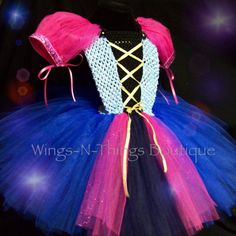 PINK PRINCESS ANNA Tutu Dress Costume Pink Cape by wingsnthings13