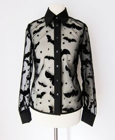 Sheer Bat Blouse with Solid Cuffs/Collar.