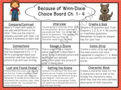 Because of Winn-Dixie Reading Choice Boards from The Carefree Classroom on… Reading Lessons, Reading Activities, Guided Reading, Teaching Reading, Student Teaching, Learning, Reading Stations, Reading Groups, Choice Boards