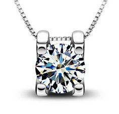 Timeless Silver & White Gold Plated Zircon Crystal Pendant Water Necklace
