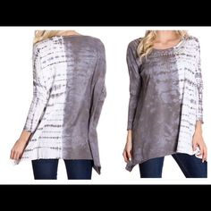 Gray Studded Tie Dye Blouse ❤️ Gray scoop neck tie dye blouse with studded front. 100% cotton. A68 NWOT open to offers. American Age Tops Blouses