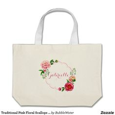 Traditional Pink Floral Scallops Frame Jumbo Tote Bag