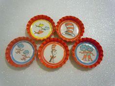 Dr Seuss Cat in the Hat  bottle cap magnets. $6.25, via Etsy.