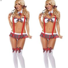 2016 New Lady Womens School Girl Costume Sexy Lingerie Sets Uniform Cosplay Fancy Dress Suit New