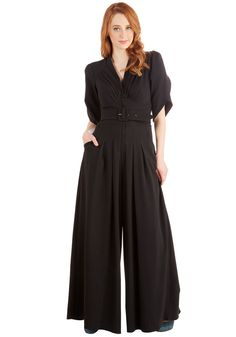 The Embolden Age Jumpsuit. In this golden era of inspiration, you feel encouraged to sport this bold black jumpsuit. #black #modcloth