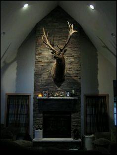 Elk mount fireplace - photo#33