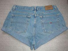 616b3cb83f96 tommy hilfiger 90 s daisy dukes HIGH waist RISE women denim jeans cuff  shorts waist 31