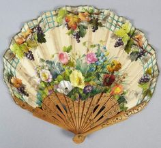Antique 19c Victorian French Carved Wooden Hand Painted Silk Floral Hand Fan pinned with #Bazaart - www.bazaart.me