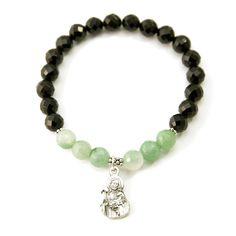 """""""Good Shepherd"""" Jade Onyx Gemstone Stretch Bracelet"""