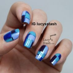 different shades of BLUE nail polish - NAILS - square pattern design
