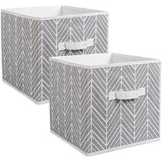 """DII Foldable Fabric Storage Containers for Nurseries, Offices, Closets, Home Décor, Cube Organizers & Everyday Storage Needs, (Large - 11 x 11 x 11"""") Herringbone Gray - Set of 2"""