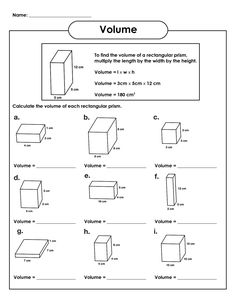 Volume Of Rectangular Prism Worksheet Volume Worksheets Volume Worksheets, Grade 5 Math Worksheets, Printable Math Worksheets, Multiplication Worksheets, Sixth Grade Math, Fourth Grade Math, Fifth Grade, Grade 3, Third Grade