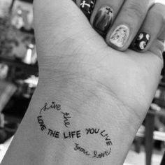 2017 trend Tattoo Quotes - Wrist Quote // Infinity Sign Tattoo Ideas...