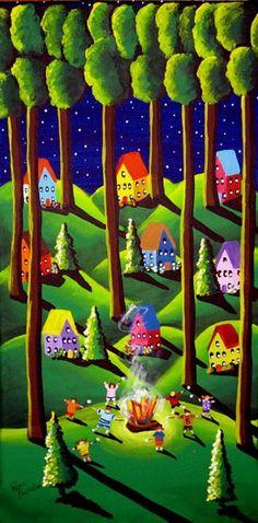 Roasting Marshmallows Summer Folk Art Whimsical Original Painting by Renie Britenbucher canvas, acrylic paint, wood, varish Illustrations, Illustration Art, Art Fantaisiste, Arte Country, Arte Popular, Art For Art Sake, Naive Art, Whimsical Art, Art Plastique