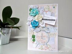 """Carte """" Rêve bleu """" pour l'anniversaire de Lamanuelle. Détail sur le blog. Bonne visite."""