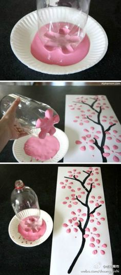 painting pink flowers with plastic bottle