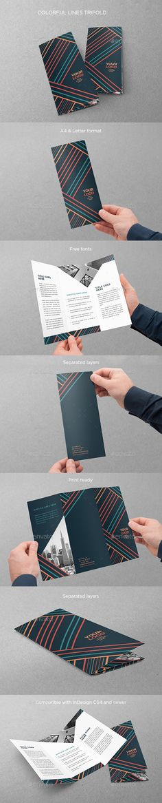 Colorful Lines Trifold Brochure Template InDesign INDD