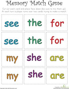 read when letters match sight word memory match worksheets 47329