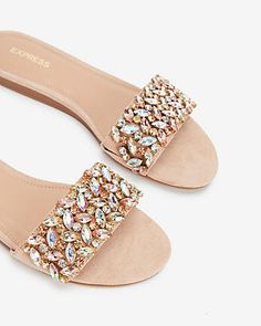 grey in size 6 - Jewel Embellished Slide Sandals Express Fashion 27e15b0970e6