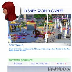 🎢WALT DISNEY WORLD CAREER🎢 Disney World is definitely my happy place, and I've created a career with some of my favorite job titles (16!!) that you can choose for your Sims! You can useMC Command...