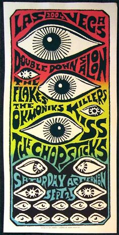 Art Chantry gig poster: The Flakes, Okmoniks, Killers Kiss and The Chopsticks