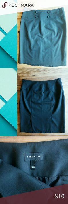 Black Pencil Skirt Black pencil skirt, size 4. I know the pics make it look kinda navy blue - this skirt is just black.  It's The Limited brand Good for work or interviews! Front button detail, side zipper, no pockets Modeled pics by request! The Limited Skirts Pencil