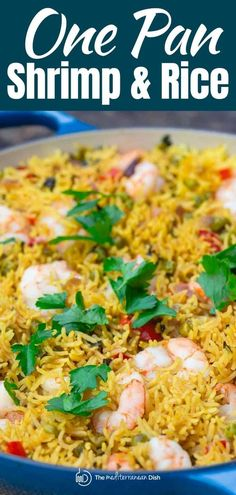 You'll love this simple and healthy shrimp and rice recipe, prepared Mediterranean-style with peas, chopped veggies, and a few spices. Brown rice option included. #shrimpandrice #shrimprice #friedrice #mediterraneanrecipes #shrimp #shrimprecipes #ricerecipe #glutenfree #mediterraneanfood #mediterraneandiet #onepan #onepotdinner #onepotmeal #seafood Shrimp And Rice Dishes, Shrimp And Rice Recipes, Greek Chicken Recipes, Rice Recipes For Dinner, Vegetarian Recipes Easy, Clean Eating Recipes, Fish Recipes, Seafood Recipes, Healthy Recipes