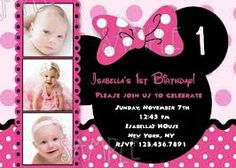 minnie mouse chevron background birthday party custom invitation or