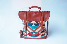 leather and Pendleton tote  'Coastal Tote Bag' by ArcOfADiver, $260.00