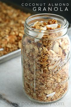 My healthy granola recipe is made with coconut oil, two types of coconut and almonds.   #granola #coconutrecipes #granolarecipes #healthygranola Healthy Meals For Two, Healthy Snacks, Healthy Recipes, Healthy Sweets, Free Recipes, Vegetarian Recipes, Brunch Recipes, Breakfast Recipes, Breakfast Cookies