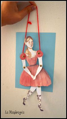 Dancer Girl Paper Doll DIY paper puppet vintage toy home decor.