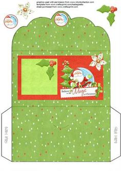 santa gift voucher money envelope wallet on Craftsuprint designed by Alison Sulley - Print out, then cut the elements, layer as you wish. Fold and stick into place. - Now available for download!