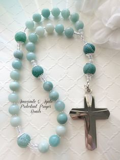Protestant Prayer Beads, Anglican Gemstone Rosary,  Aqua Amazonite & Agate Rosary, Stainless Steel Cross, Christian Gift, by FaithExpressions on Etsy
