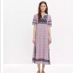 Madewell embroidered ikat dress Ikat dress from madewell purchased last summer for 188 and never wore Madewell Dresses Maxi