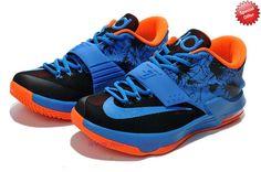 cheaper cbbd3 98f88 Nike KD 7(VII) KD009414 Ocean Blue Orange Black Mens For Sale Cheap